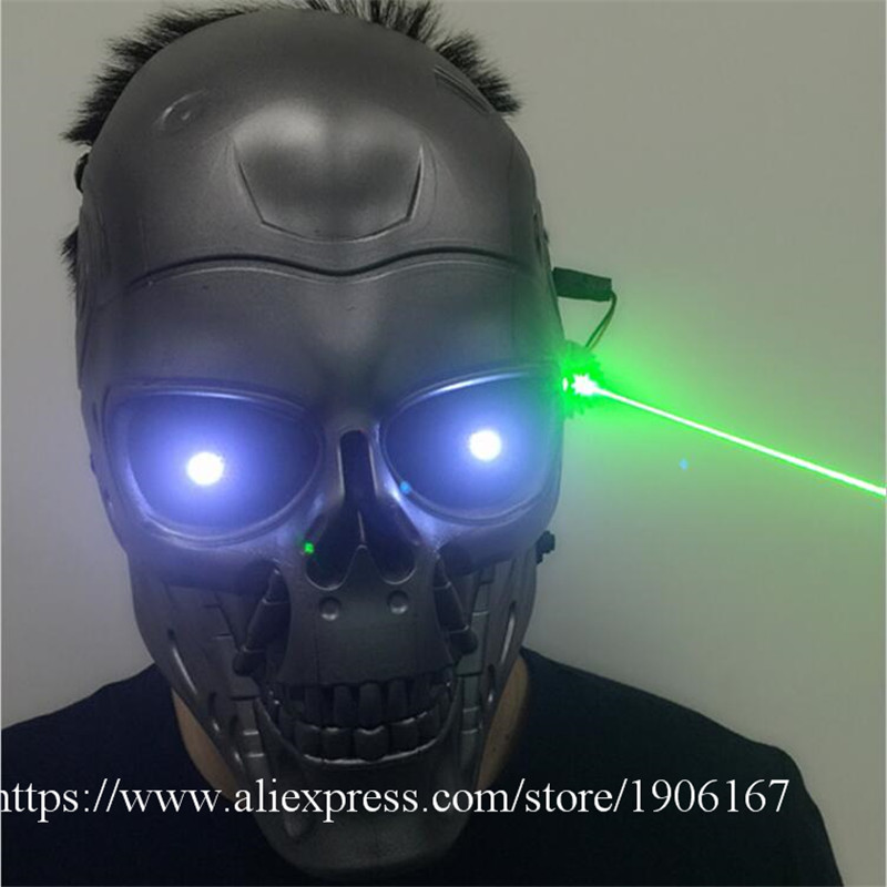С подсветкой зеленый Laserman Хэллоуин Призраки МАСКА осветить концертная головные уборы зеленый лазер партии маскарад маски
