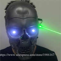 С подсветкой зеленый Laserman Хэллоуин Призраки МАСКА осветить сцены Головные уборы зеленый лазер партии Маскарад Маски для век
