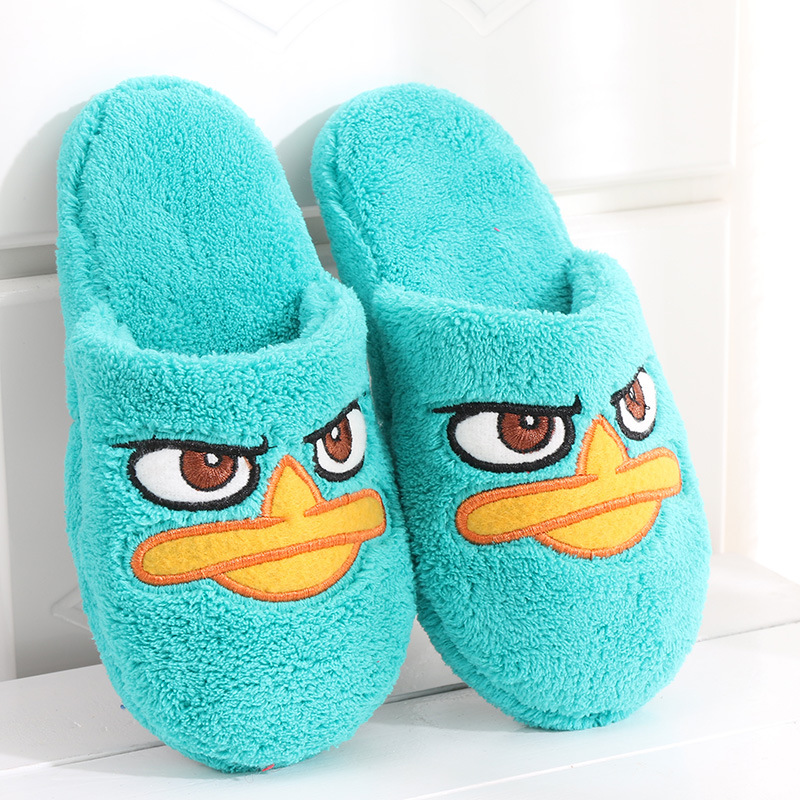 Winter Kids Slippers For Boys Girls Home Suede Indoor Slippers Baby Flip Flop Non-Slip Children Cartoon Cute Plush Warming Shoes