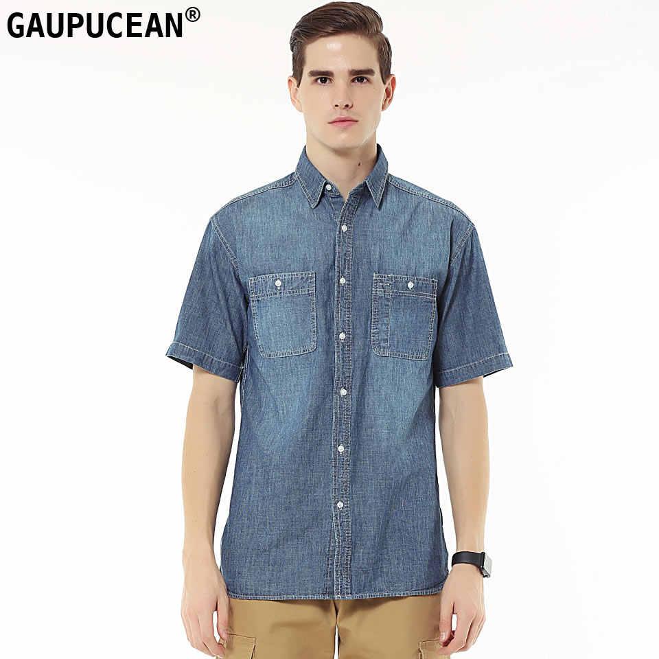 8c85f78b541 Натуральная gaupucean человек джинсовая рубашка 100% натуральный хлопок  хорошее качество летние шорты рукав мужской одноцветное