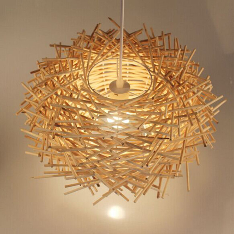 Southeast Asia Bird Cage Pendant Light LED Wooden Hanging Lamp Beige Brown Color Rattan Suspension Luminaire