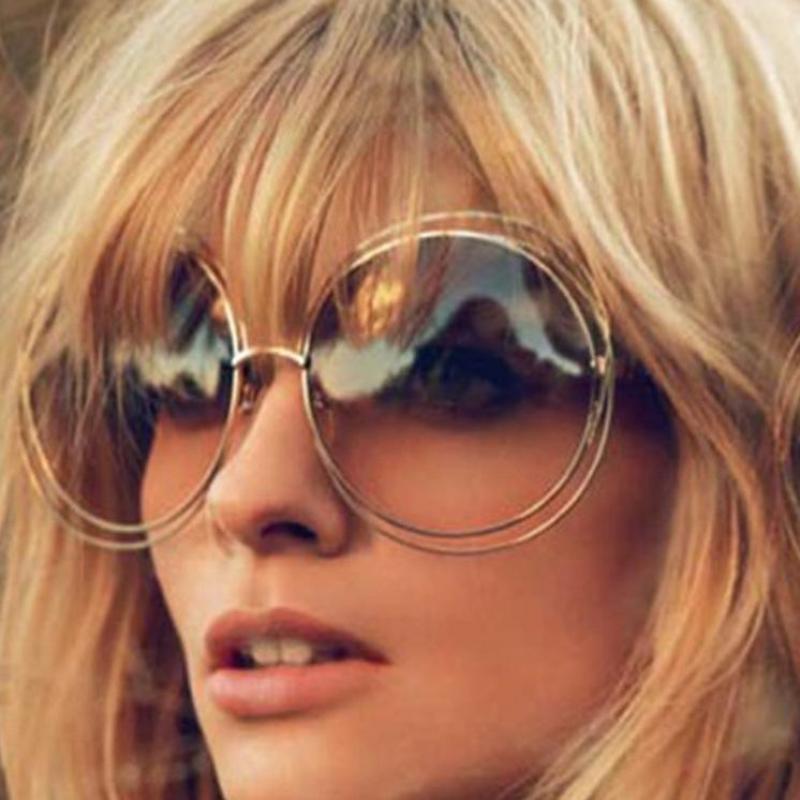 2017 New Big Circle Round Frame Brand Designer Sunglasses Female Fashion Eyeglass Oculos Sun Glasses For