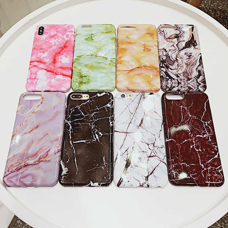 Marble สำหรับ Samsung A6 A6 Plus 2018 Glossy Soft Silicon Fundas สำหรับ Samsung A8 A8 Plus 2018 capa Hoesjes
