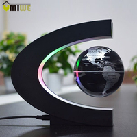EU Plug C Shaped Magnetic Balls Levitation Globe World Map Home Ornement Business Birthday Gifts Residential