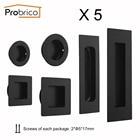 Probrico Recessed Cabinet Handles Pocket Door Insert Pulls Barn Door Handle Pulls Black Stabinless Steel With Screws 5 Pack