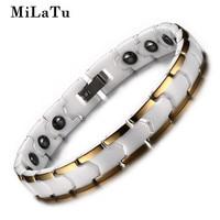 MiLaTu Charm Women S White Ceramic Bracelet Bangle With Hematite Stone Bio Energy Health Bracelet Women