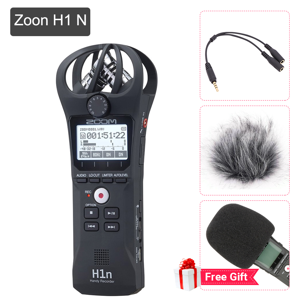 Portable Black Zoom H1N Microphone Handy Digital Recorder Stereo Recording Handheld Pen for Interview DSLR Updated of Zoom H1 digitalfoto professional portable four track zoom h4nsp handy recorder digital audio recorder microphone for interview