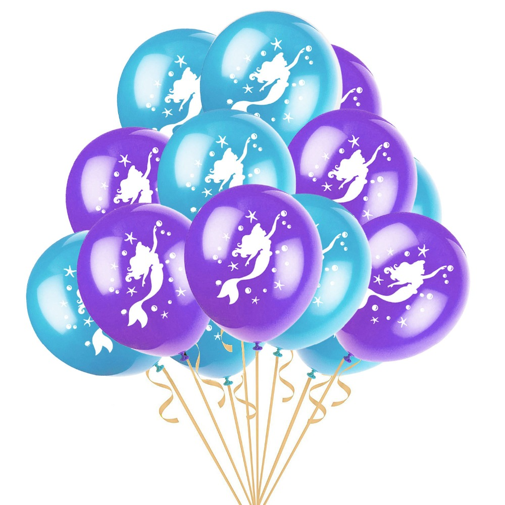 Mermaid Theme Party Decorations Letter Mermaid Balloon Happy Birthday Banner One Blue Seaside Hanging Glitter Cardboard