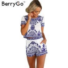 Berrygo 2016 летний стиль фарфор печати из двух предметов комбинезон Женщины с коротким рукавом Растениеводство Топ комбинезон женский Винтаж общая