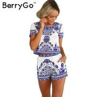 Simplee Apparel Summer Style Porcelain Print Two Piece Jumpsuit Romper Women Short Sleeve Crop Top Playsuit