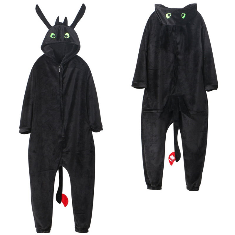 How to Train Your Dragon Night Cosplay Costumes Cute Fury Toothless Pajamas Unisex Flannel Long Rompers Sleepwear Jumpsuit Suit