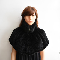 Women mink knitted Fur Pashmina with Hoodies, Fashion Shawl with Hood in Real mink knitted Furs