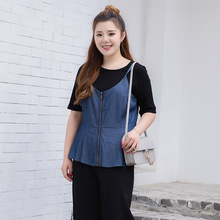 2017 large women's spring and summer loaded with the new fat mm THIN denim jacket zipper vest vest 371