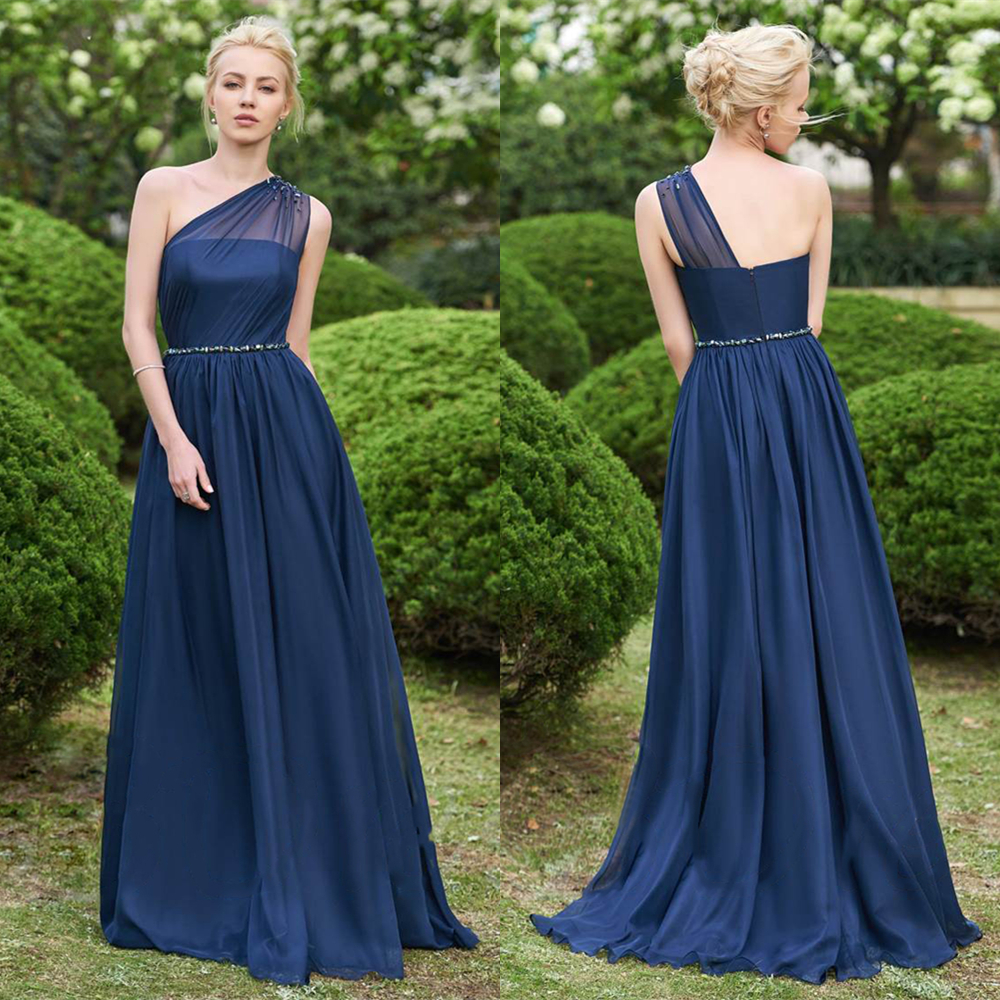 Babyonline One Shoulder Chiffon Long   Bridesmaid     Dresses   2019 Beading Wedding Party   Dresses   robe demoiselle d'honneur