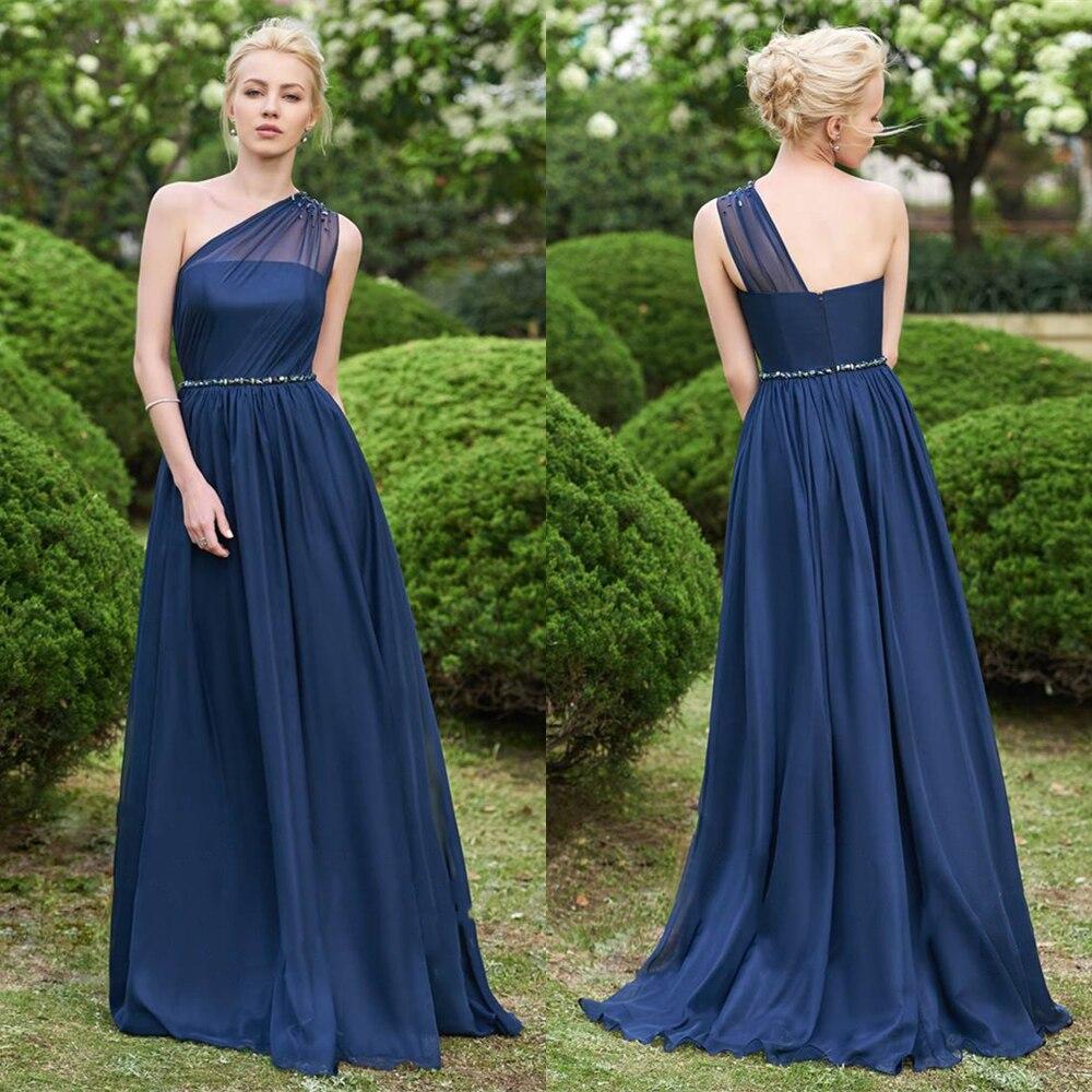 Une épaule en mousseline de soie longues robes de demoiselle d'honneur 2019 perles robes de fête de mariage robe demoiselle d'honneur