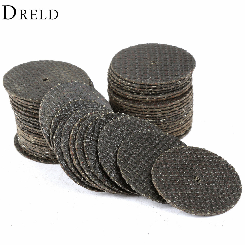 DRELD 50pcs Dremel Accessories 32mm Cutting Discs Resin Fiber Cut Off Wheel Discs For Rotary Tools Grinding Abrasive Tools