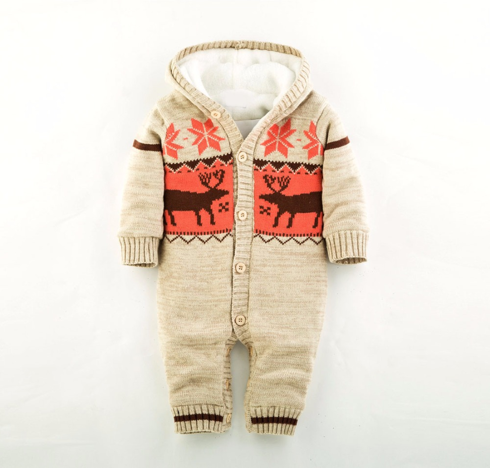 Winter baby rompers stripe baby boy clothes Thicken newborn knitting baby girl clothing jumpsuit infant clothing baby clothes