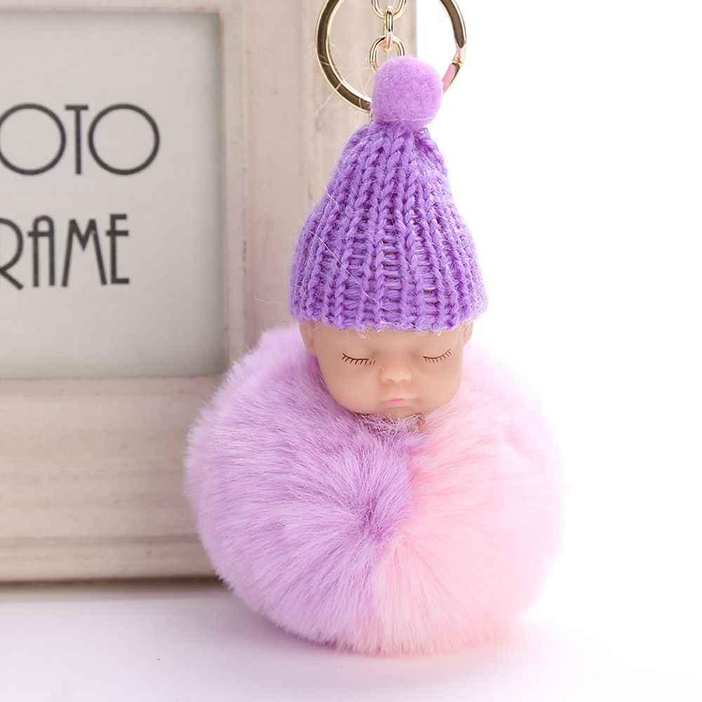 Faux Pele De Coelho Bola Pompom fofo Bebê Dormindo Boneca Chaveiro Chaveiro Car Chaveiro Mulheres Saco Titular Chave Pingente Acessórios