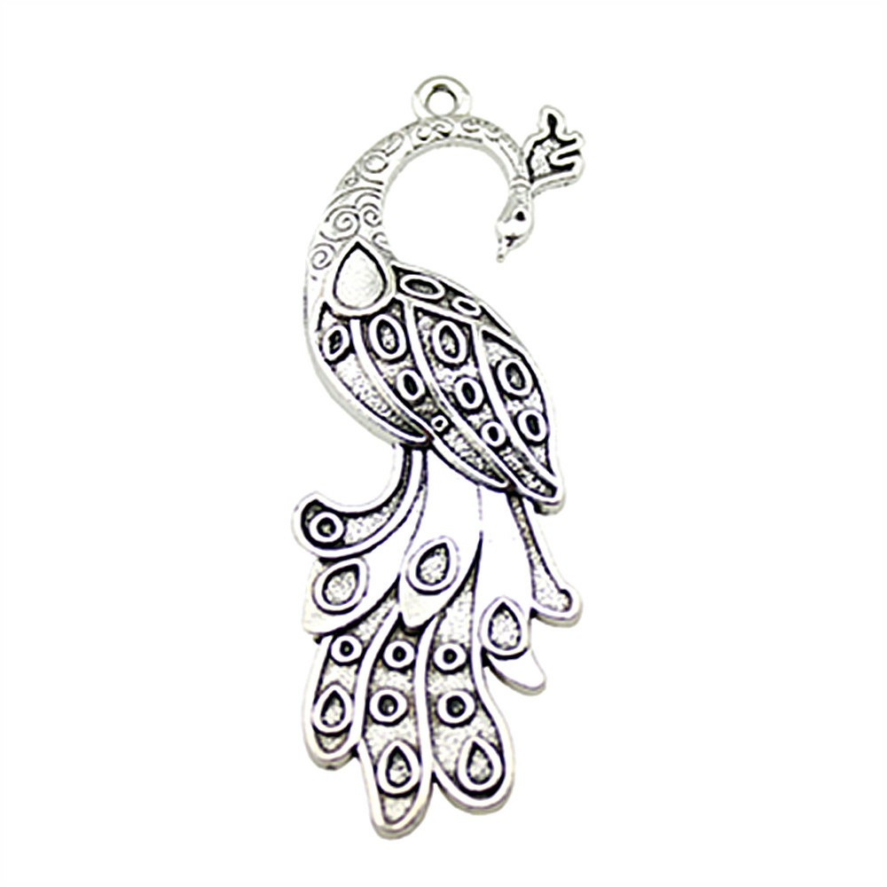 10pcs Bronze Phoenix Peafowls Wing Feather Charm Pendant for Necklace Jewelry