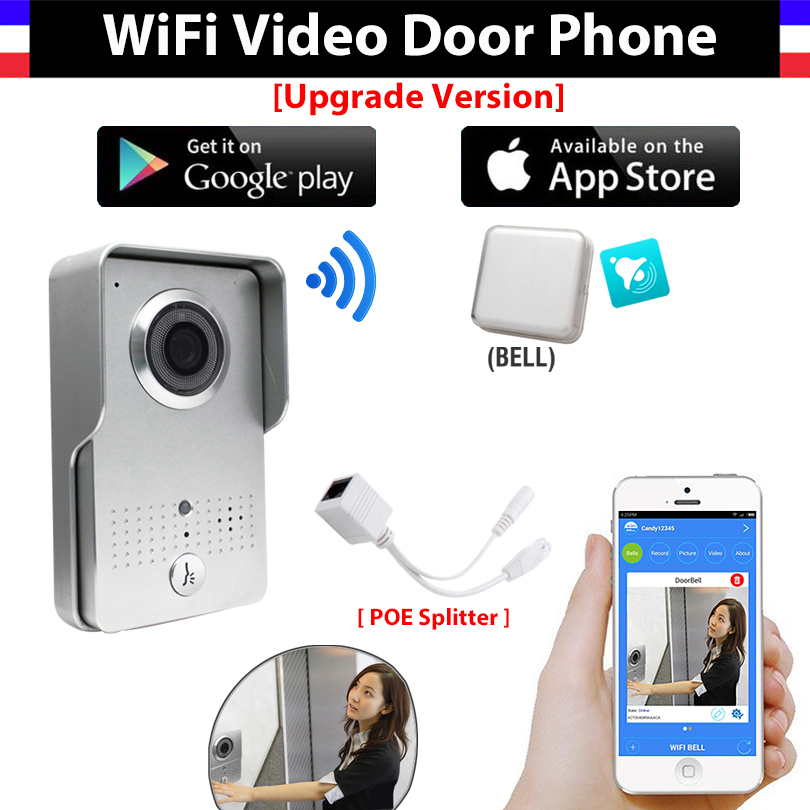 [Upgrade Version] Wireless IP Wifi Video Doorbell Intercom System Video Door Phone Camera + indoor Door bell Support IOS Android 2016 new wifi doorbell video door phone support 3g 4g ios android for ipad smart phone tablet control wireless door intercom
