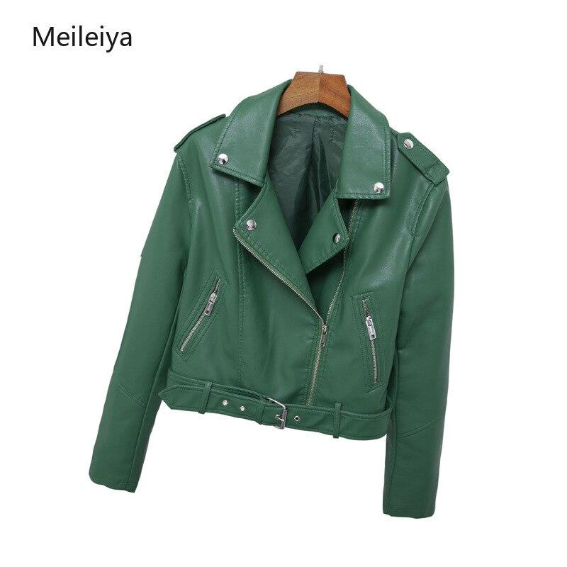 2019 Spring new classic lapel short belt women's PU   leather   jacket simple   leather   jacket Haining locomotive jacket
