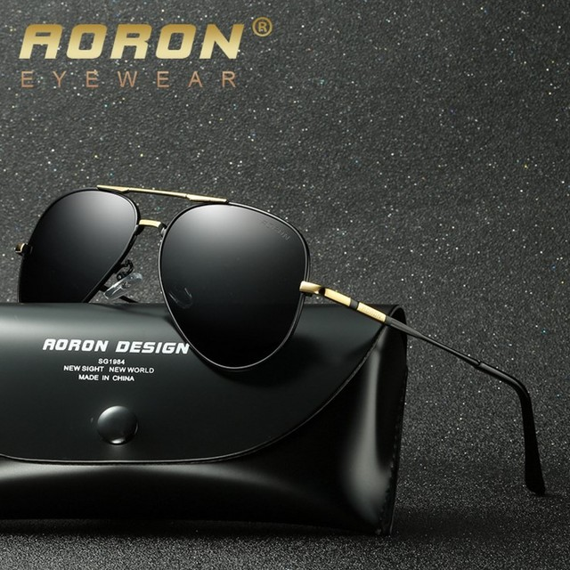 15121df368 AORON Men Brand Designer Retro Polarized Sunglasses UV400 Coating Mirror  Glasses Sports Driving Eyewear Unisex