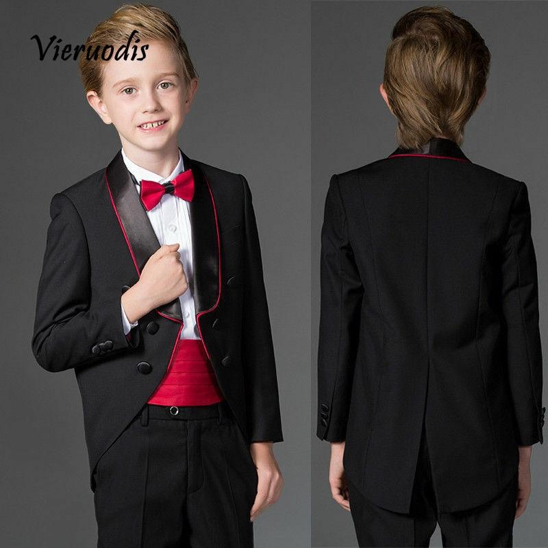 Black Suits Boys Wedding Prom for Kids Flower Boy 2 Piece