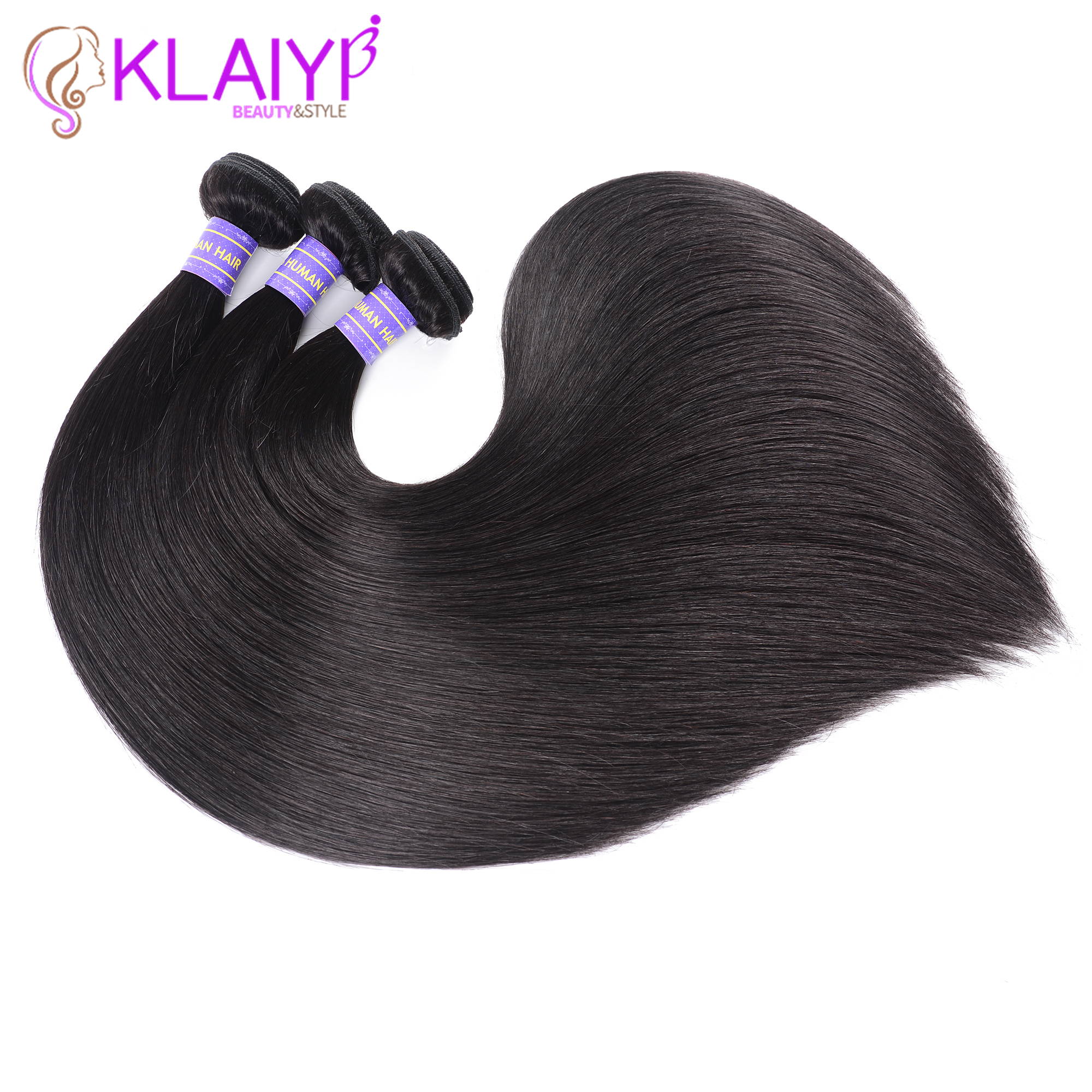 Klaiyi Hair Products Brazilian Hair Weave Bundles Straight Hair Bundles 8-26 Inch Dark Black Color 1