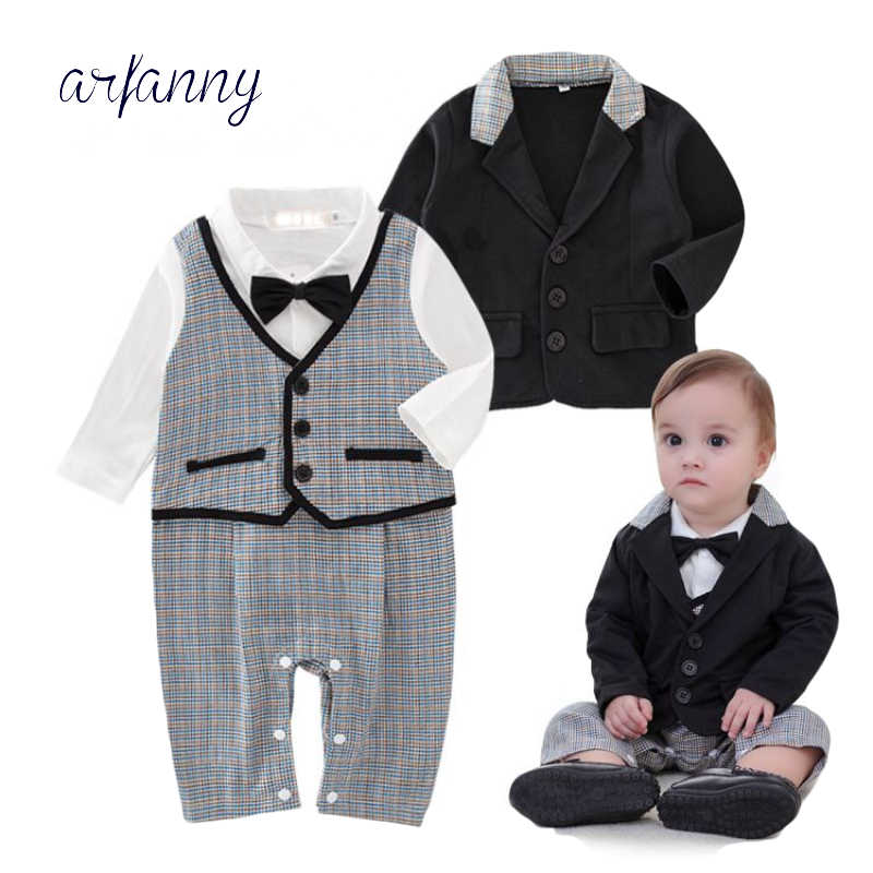 4ec1b562a78 BabyBoys clothing Gentleman set coat+lattice romper wedding Event birthday  outfits 12m Boy Clothes costumeinfant