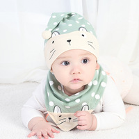 Myudi 2 Pcs Set Baby Hat With Bibs Scarf Cute Kitty Newborn Boy Head Wear Sweet