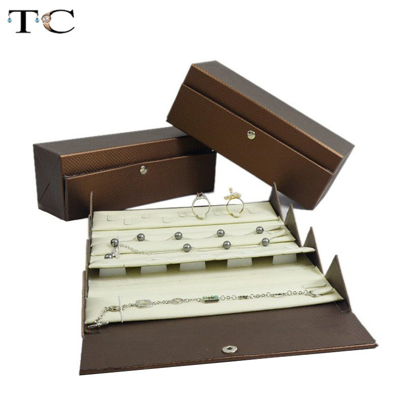 купить Jewelry Box Portable Travel Organizer Jewelry Box Coffee Leather Foldable Jewelry Storage Case Jewellry Box 20*7*7cm по цене 1643.5 рублей