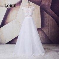 LORIE Two Piece Wedding dress Off the Shoulder Lace A Line Chiffon Beach Wedding Gown vestido de casamento Princess Bride Dress