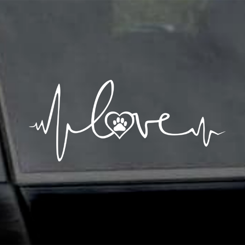 EKG Line With Heart and Paw Car Sticker Decal 8 Racing Truck Wall Laptop Windshield Dog