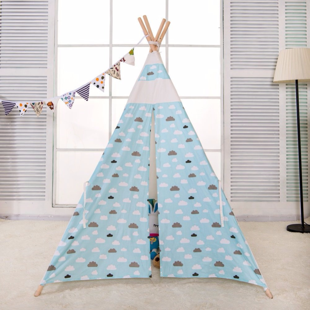 Blue Cloudy Children Play Indoor Teepee Tent for Kids Playhouse Tent Kids Tipi Tent mrpomelo children indoor indian teepee play house solid blue garden game playhouse 100