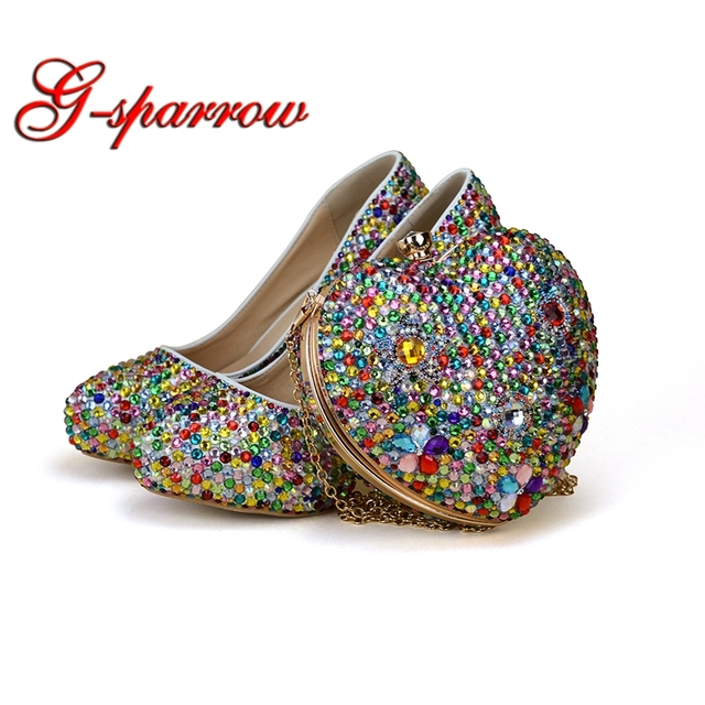 Small Rhinestone Mix Color High Heel Party Shoes with Heart Shape Bag Wedding Bridal Shoes Adult Ceremony Shoes with Clutch Bag