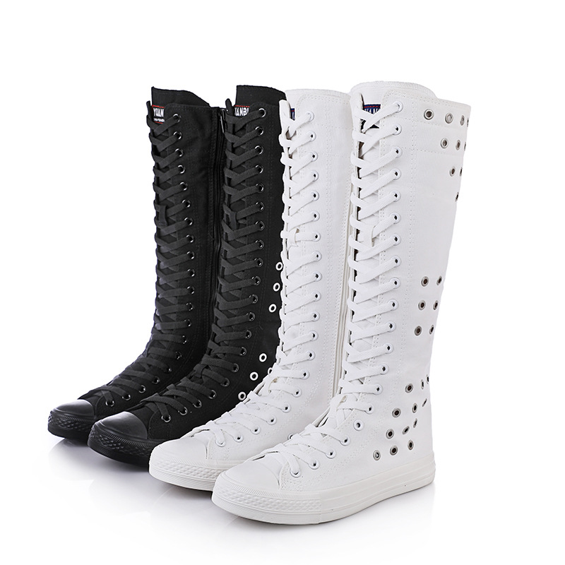 Fashion Girl s Canvas Shoes Boots Women Knee High Leisure Sneaker Size 35 43 White Black
