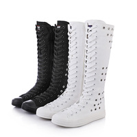 Fashion Girl's Canvas Shoes Boots Women Knee High Leisure Sneaker Size 35 43 White Black Eyelet Decoration