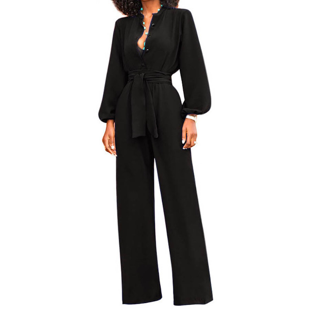 151edc74dc4 HAOOHU Wide Leg Elegant Jumpsuit Women Long Sleeve Overalls Sexy Office Rompers  Jumpsuits Ladies Buttons Casual Jumpsuit