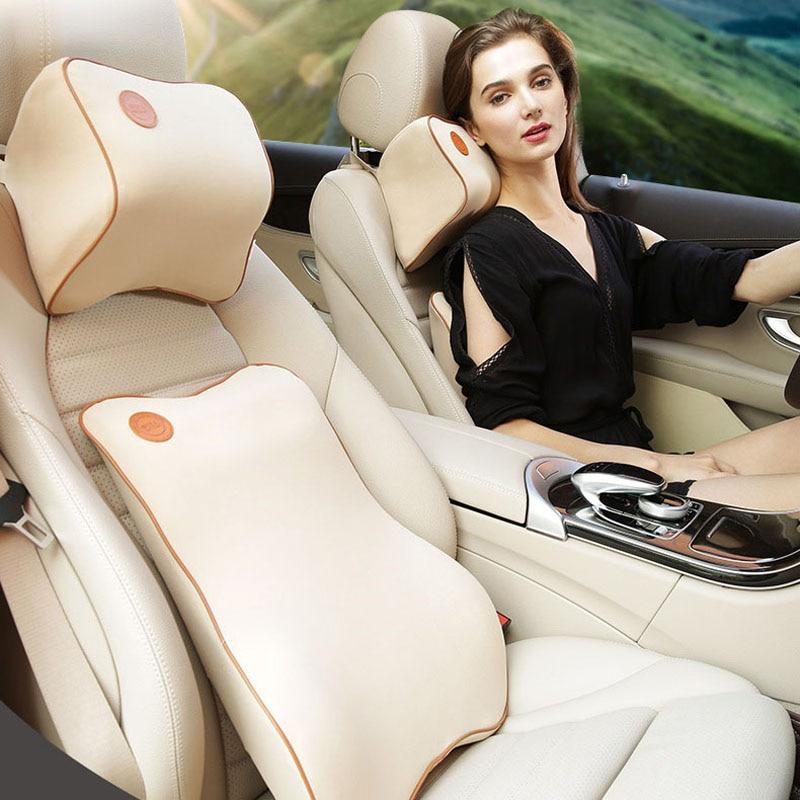 1 Set 2Pcs Universal Car Cushion Memory Cotton Soft Fabric Foam Neck Pillow Headrest Lumbar Support Suit Dropshipping