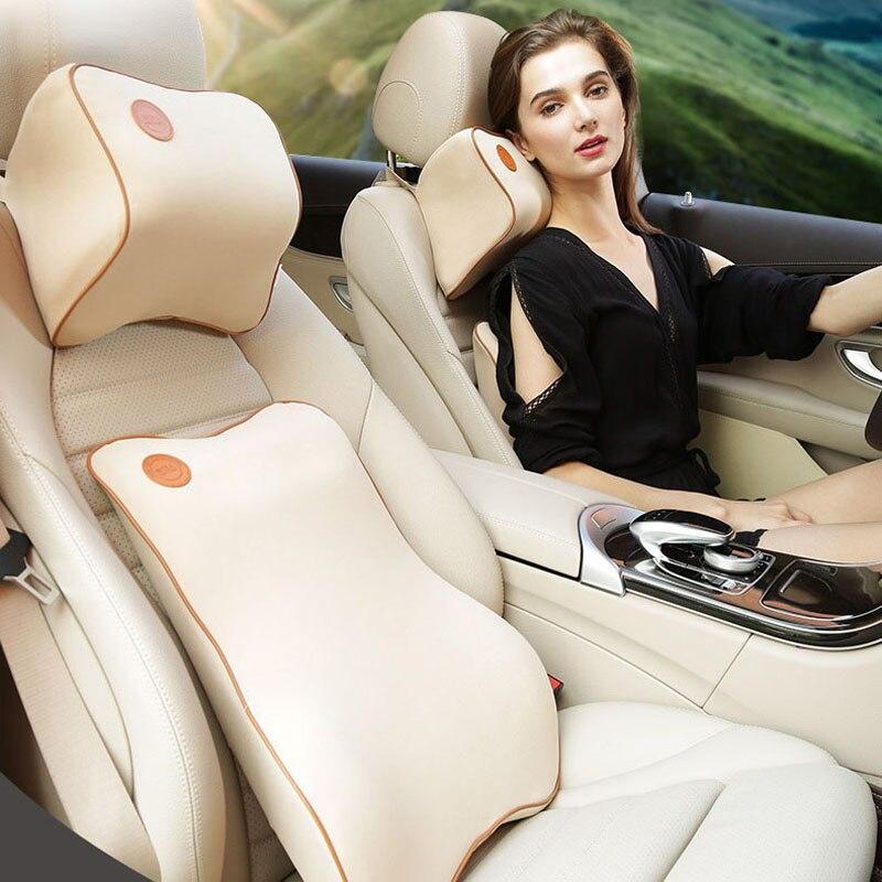 1 Set 2Pcs Universal Use Car Cushion Memory Cotton Soft Fabric Foam Neck Pillow Headrest Lumbar Support Suit Automotive Supplies