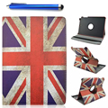 360 Rotation Stand fashion UK flag PU leather cover Case for Samsung Tab A 9.7 T550 T555 P555 P550 Tablet stand capa funda