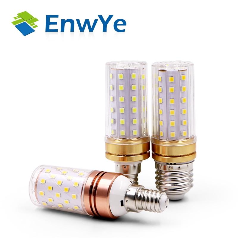 EnwYe E27 LED Lamp E14 LED Bulb True power 9W 12W SMD2835 220V Corn Bulb Chandelier Candle LED Light For Home Decoration ultrafire ceramic led corn capsule bulb mini decoration light