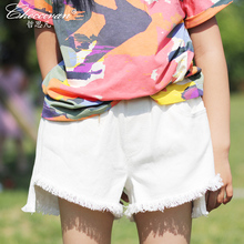 Checcivan Family Fashion Summer Shorts 2017 Mother and Child Clothes Mother Daughter Shorts White Faux Denim Short Trousers