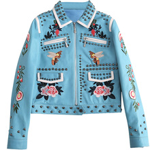 ФОТО high quality really leather women's spring jacket motorcycle leather women embroidery locomotive jacket flowers bird pattern