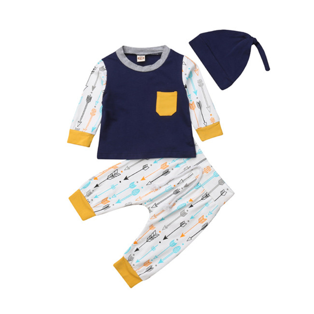 Pants Outfits Long-Sleeves Newborn Baby-Boy-Girl 3pcs-Sets Cotton Casual Autumn 0-18M
