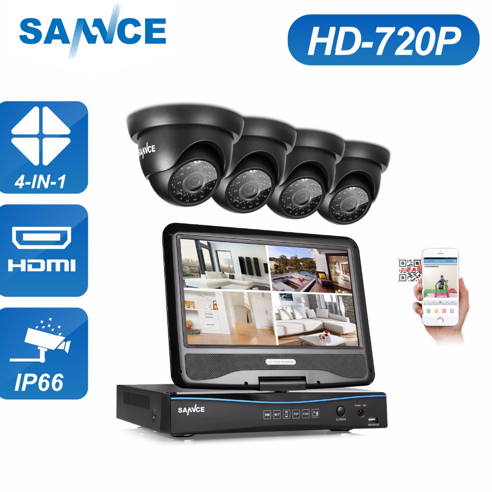 SANNCE 1080N HDMI 4CH DVR 1200TVL 720P HD Outdoor CCTV Security Camera System 4 Channel Surveillance Kit With 10 LCD Monitor sannce 4 channel 720p dvr cctv camera system 2pcs 1200tvl 720p ir outdoor security camera system surveillance kit 1tb hdd