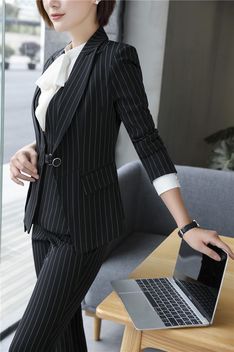 Vêtements Ensembles De Pièce Travail Blazers Veste Gilet Rayé Costumes Et Pantalon 3 Bureau Noir Formelle Uniformes D'affaires Dames Femmes dSZxqXqw