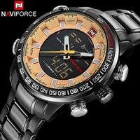 Men Sport Watches NAVIFORCE Brand Dual Display Watches LED Digital Watches Stainless Steel Quartz Watch Gift