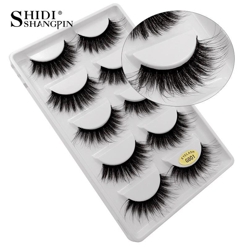 SHIDISHANGPIN 5 pairs false eyelashes hand made 3d mink eyelashes natural long mink lashes 1cm-1.5cm makeup false eyelashes