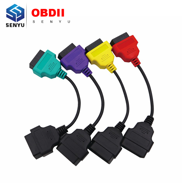 For Fiat MultiECUScan / FiatECUScan Adapter Cable Bundle OBD OBD2 ECU Cables Leads ABS Airbag Diagnostic Scanner 4PCS Full sets